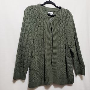 Olive*One Button Cardigan*Mixed Knit*Sz XL*D